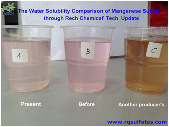 The further improvement of manganese sulphate monohydrate of water solubility